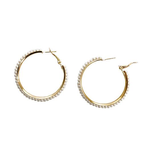 Boucles d'oreille Caracol, Anneau métallique avec perles, Or, 2403-GLD