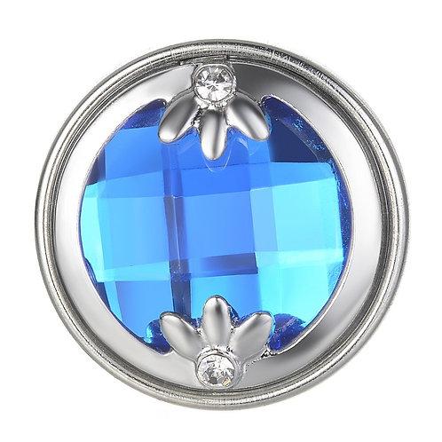 Bouton pression (snap) Nomaad Interchangeable, Cristal bleu royale avec fleurs