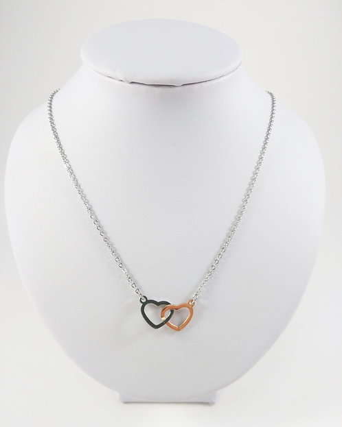 Coeur uni sur chaîne, Acier inoxydable (Argent et or rose)