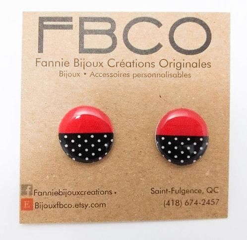 Boucles d'oreille FBCO ''Chikie rouge, noir et blanc''