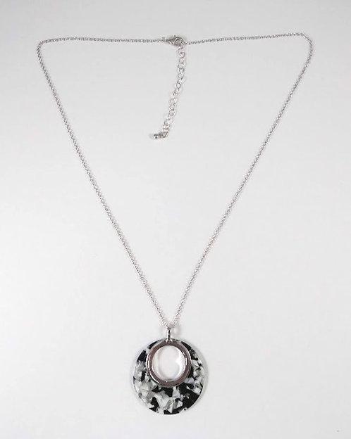 Collier mi-long Spoutnik noir, gris, blanc et argent