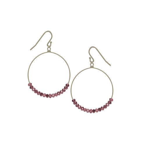 Boucles d'oreille Caracol, Anneau avec billes violet, Or, 2293-PUR