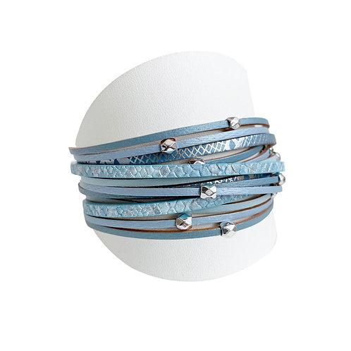 Bracelet Caracol, Cuir avec bille métal, Bleu, 3137-BLU