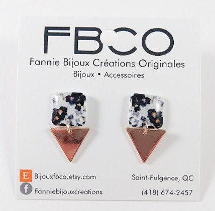 Boucles d'oreille FBCO ''Lustra'' Motif de fleur noir, blanc et gris