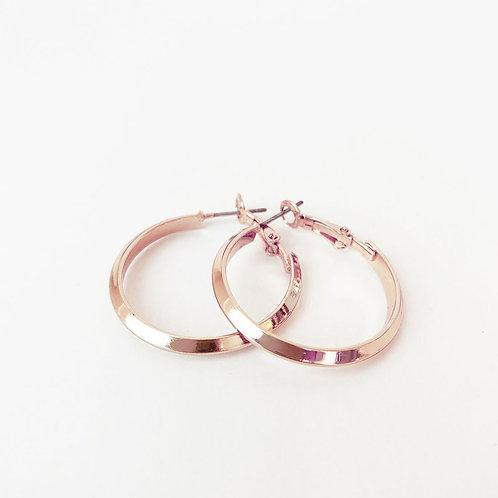 Boucles d'oreille Caracol, Anneau métallique sur tige, Or rose, 2291-RGD