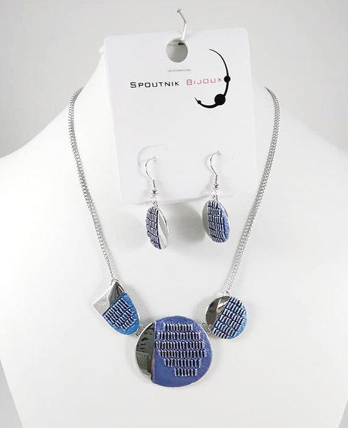 Ensemble collier et boucles d'oreille Spoutnik, Bleu et argent