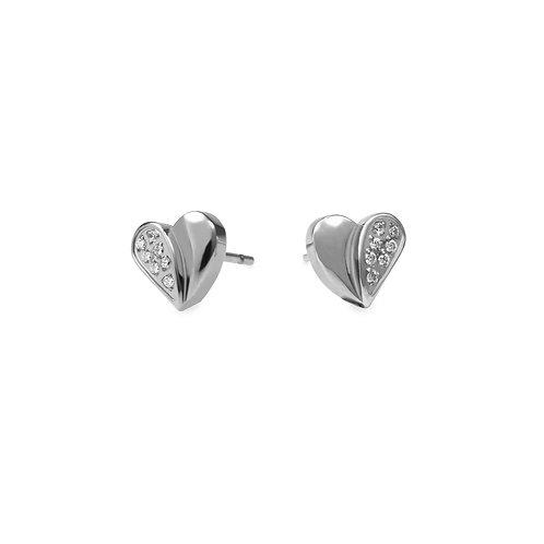 Boucles oreilles cœur moitié pierres, Acier inoxydable, Argent