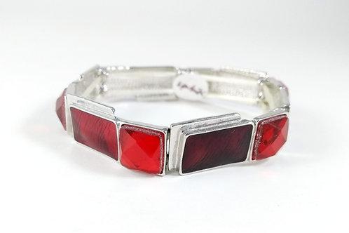 Bracelet Spoutnik élastique, Rouge, résine et acrylique facettée