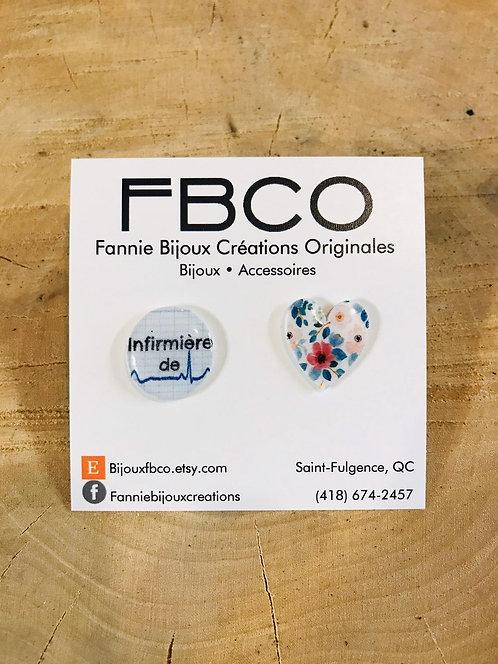 Boucles d'oreille FBCO ''Infirmière de coeur''