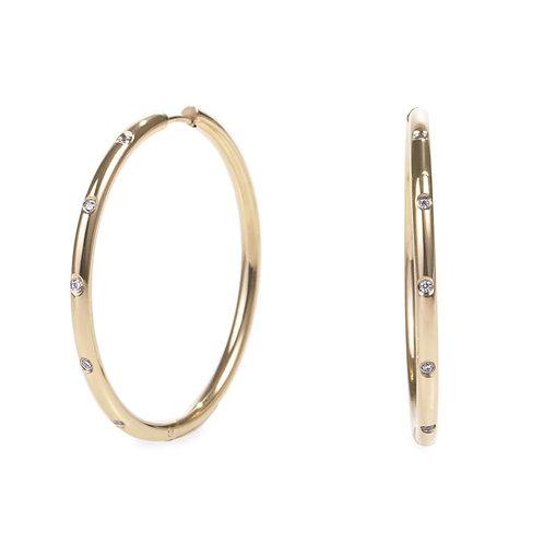 Boucles d'oreilles anneaux Stellar, Acier inoxydable, Or
