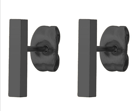 Boucles d'oreille acier inoxydable ''Rectangle noir''