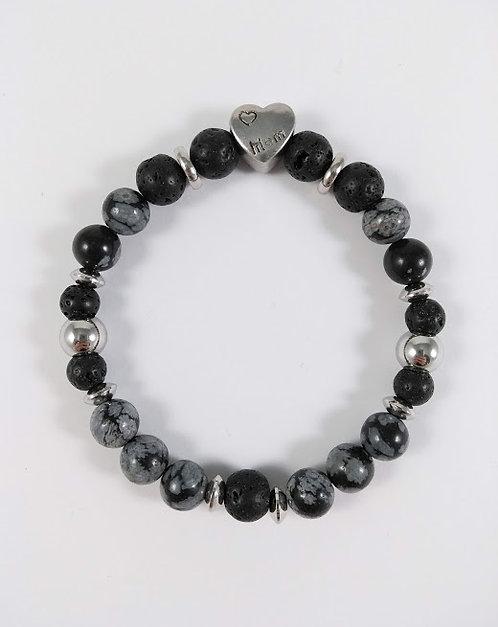 Bracelet #13 Obsidienne flocon de neige et pierre volcanique