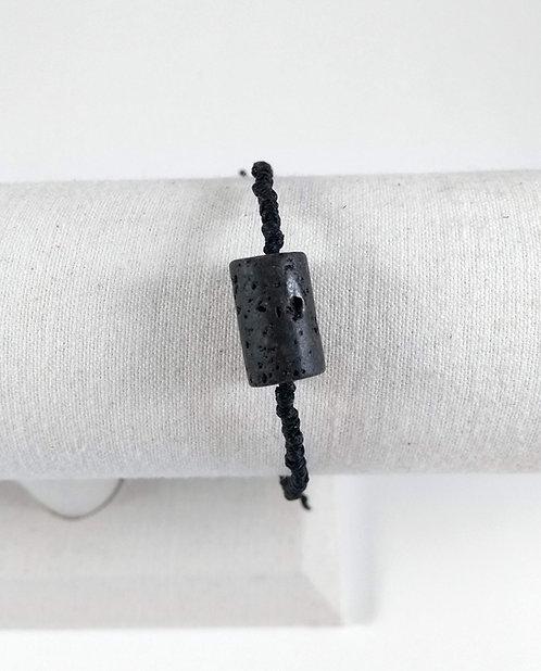 Bracelet ajustable, Pierre volcanique diffuseur d'HE, Noir cylindre