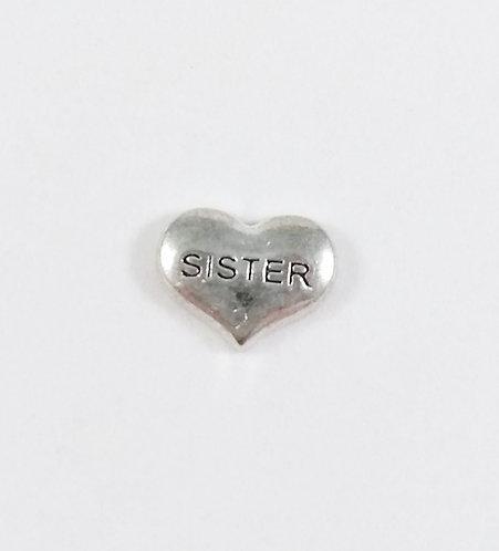 Figurine pour collier famille: Coeur ''Sister'' (soeur)