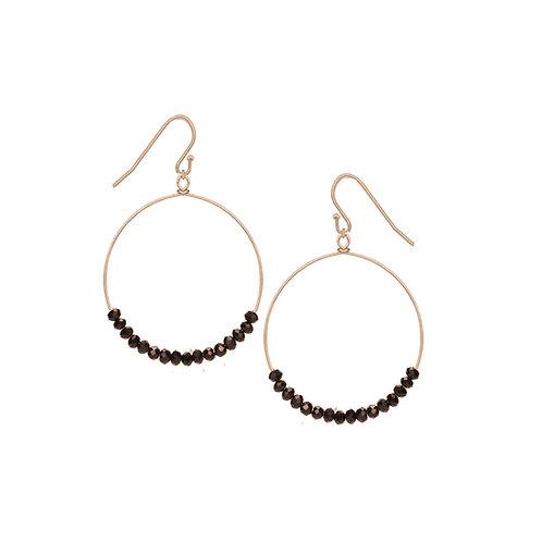 Boucles d'oreille Caracol, Anneau avec billes noires, Or, 2293-BLK-G