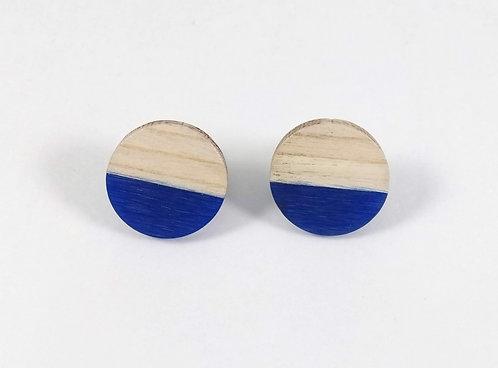 Boucles d'oreille GB Joaillière, Bois et résine, fixe, Bleu royal