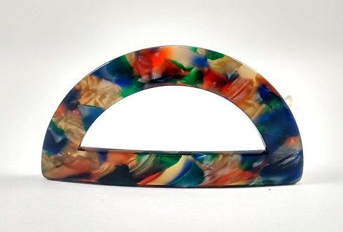 Barrette, Demi-cercle plastique, Multicolore foncé