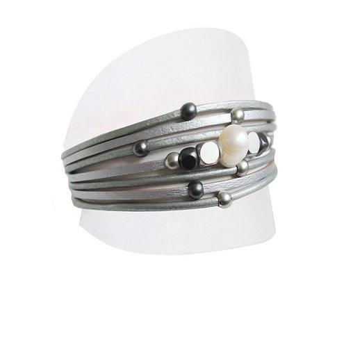 Bracelet Caracol, Cuir et perle, Gris, 3149-GRY