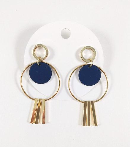 Boucles d'oreille Spoutnik, Or et bleu marin