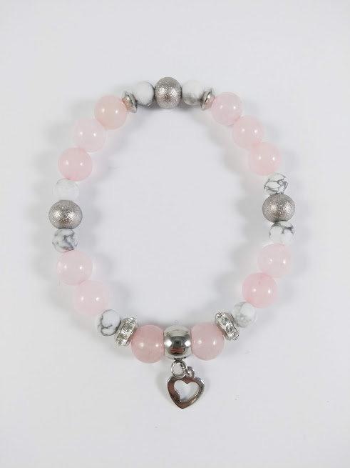 Bracelet #15 Quartz rose et Howlite