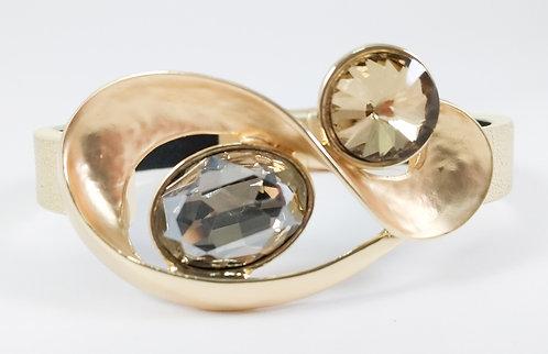 Bracelet Spoutnik cuir avec courbe or mi-mat et cristaux