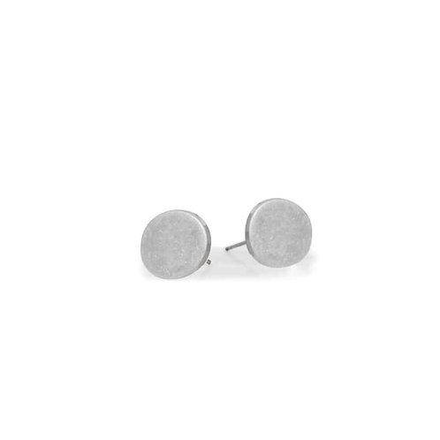 Boucles d'oreille Caracol, Petit bouton fini usé, Argent, 2362-SLV
