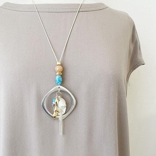 Collier long Caracol, corail et turquoise, perle blanche, Argent 1385-COR