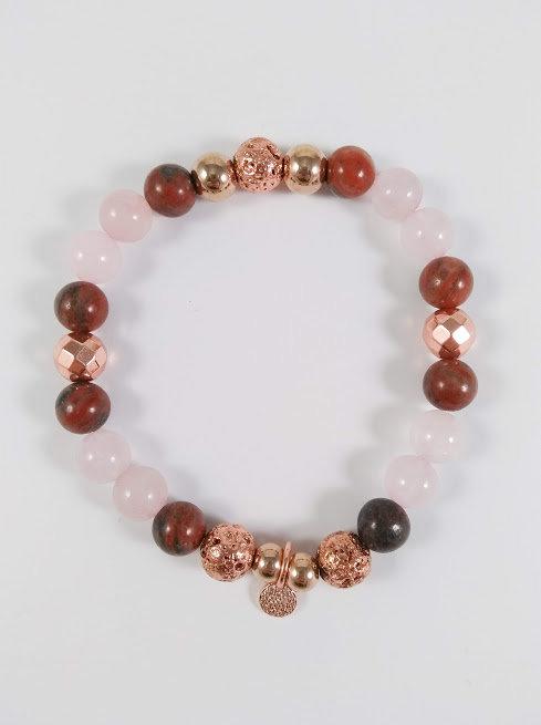 Bracelet #16 Jaspe brun, Quartz rose, Hématite et pierre volcanique