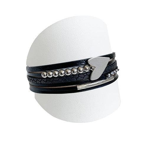 Bracelet Caracol, Cuir et coeur, Noir, 3148-BLK