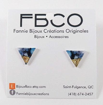 Boucles d'oreille FBCO ''Soly'' Triangle, bleu-noir, Or