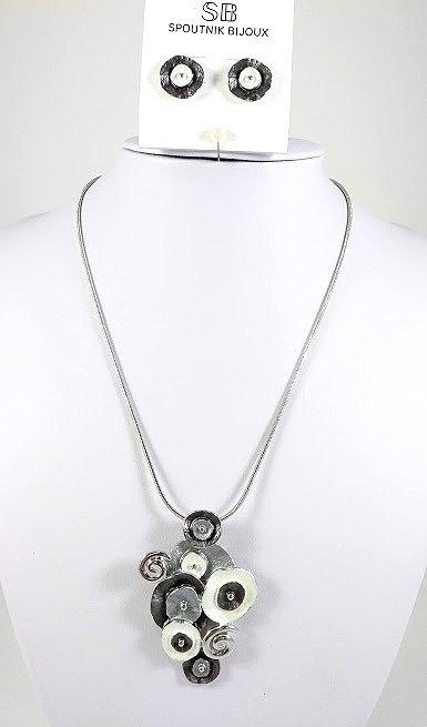 Ensemble collier et boucles d'oreille Spoutnik, Cercles, Blanc, gris et argent