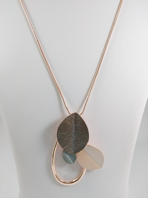 Collier long Caracol, Feuille, or rose