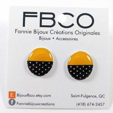 Boucles d'oreille FBCO ''Chikie jaune et noir''