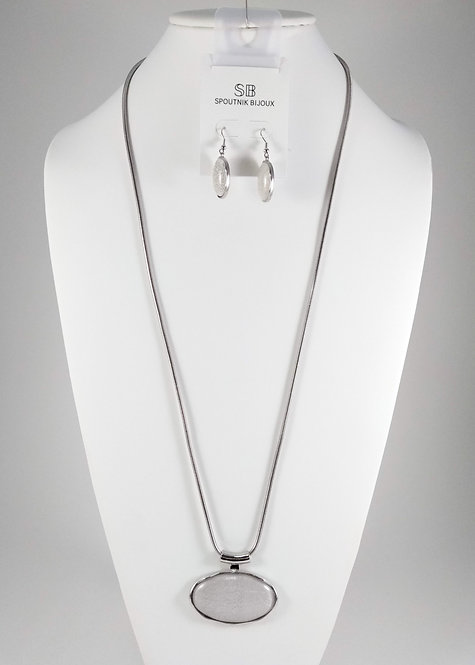Ensemble collier long et boucles d'oreille Spoutnik, Ovale blanc