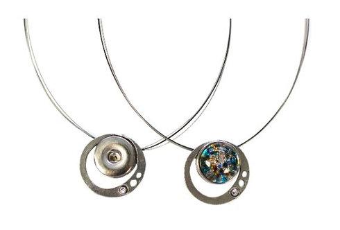 Collier cercle avec 1 cristal Créart Interchangeable sur fil en acier inoxydable