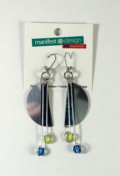 Boucles d'oreille Manifest Design: Plaque demi-lune, bleu-vert