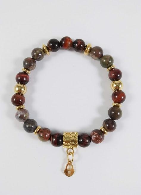 Bracelet #27 Jaspe océan et oeil de tigre rouge