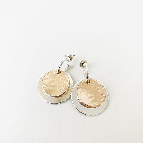 Boucles d'oreille Caracol, Pastille, Argent et or rose, 2434-MXR