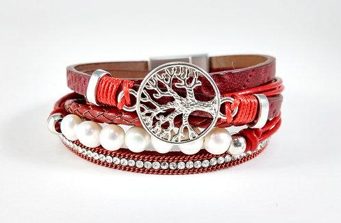 Bracelet cuirette rouge, Arbre argent, perle blanche, cristaux