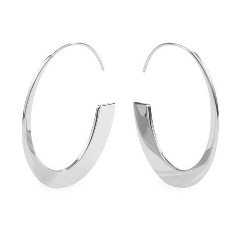 Boucles d'oreilles Mia, Anneau rétro moderne, Acier inoxydable, Argent