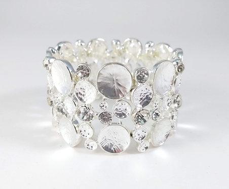 Bracelet élastique Caracol, Pièce de métal argenté, cristaux, cercles