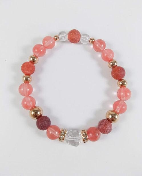 Bracelet #20 Quartz cerise, Agate de feu et Quartz cristal