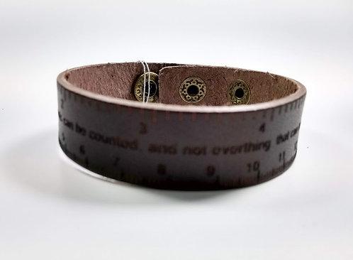 Bracelet pour Homme, cuir brun, règle avec texte