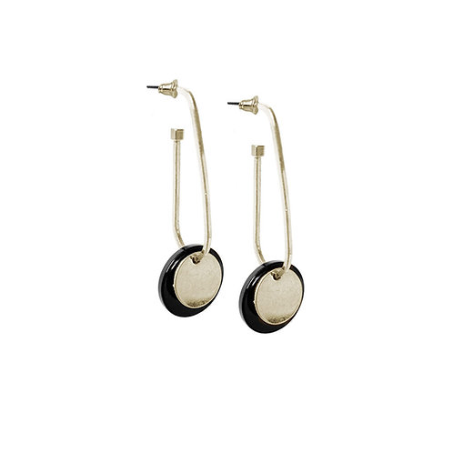 Boucles d'oreille Caracol, Pastille sur anneau ovale, Or et noir, 2418-GLD
