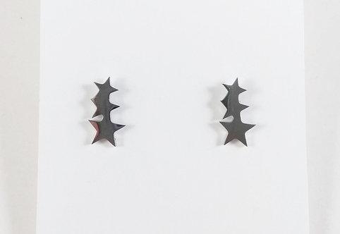 Boucles d'oreille acier inoxydable ''3 étoiles''