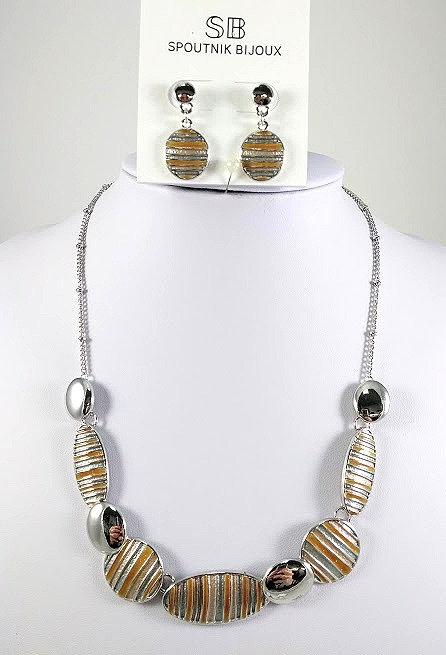 Ensemble collier et boucles d'oreille Spoutnik, Ovale rainuré, Jaune et taupe