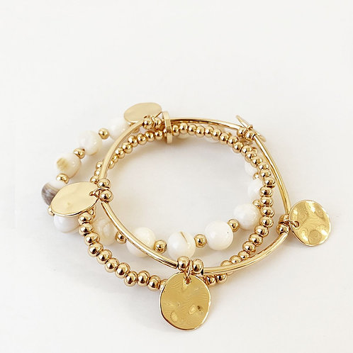 Ensemble de 3 bracelets Caracol, billes métal et coquillage, Or, 3178-WTG