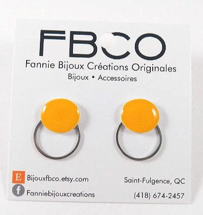 Boucles d'oreille FBCO ''Lollie'' Cercle jaune, anneau argent