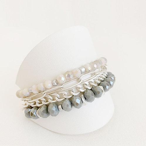 Ensemble de 3 bracelets Caracol, Billes et chaînes, Gris et argent, 3185-GRY