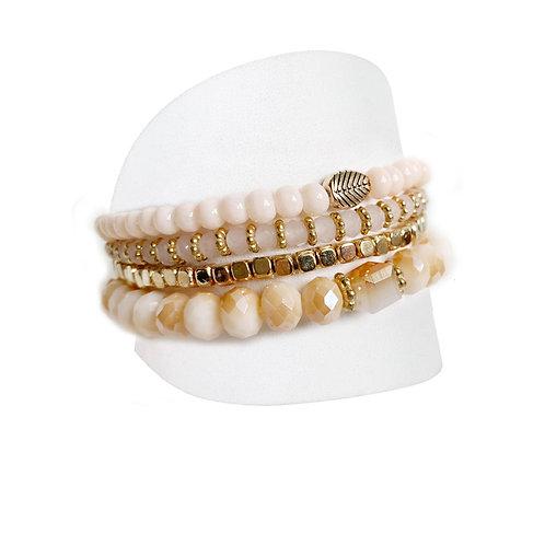Ensemble de 4 bracelets Caracol, billes crèmes-roses, 3124-BLH